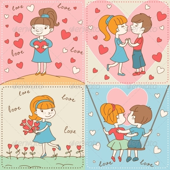 Vintage Valentine's Day Card of Boys and Girls. - Valentines Seasons/Holidays