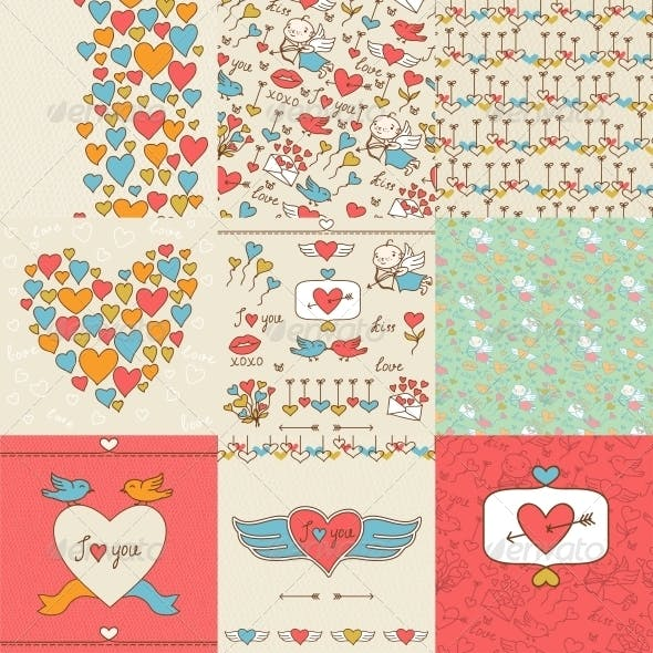 Set of Valentine's Cute Doodles and Backgrounds.