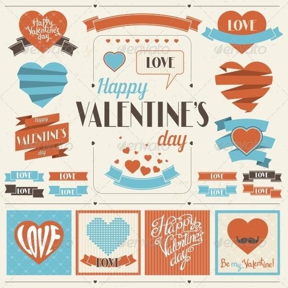Valentine's Day Ribbons Collection. - Decorative Symbols Decorative
