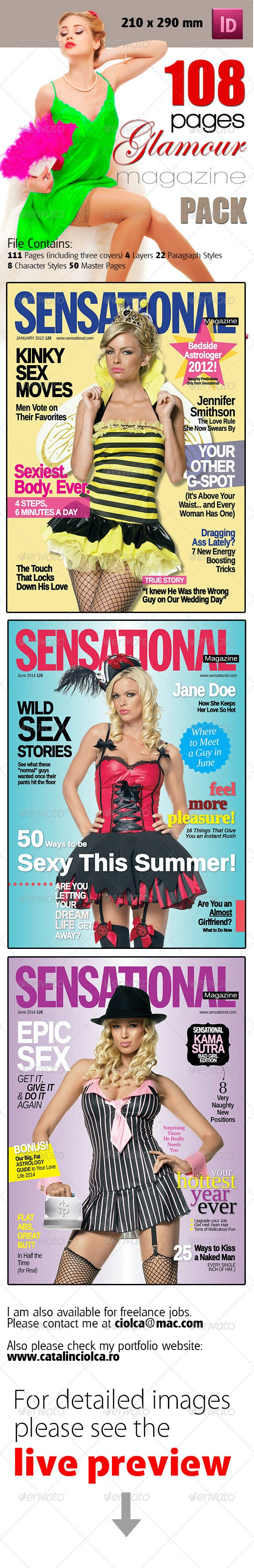 108 Pages Glamour Magazine Bundle - Magazines Print Templates