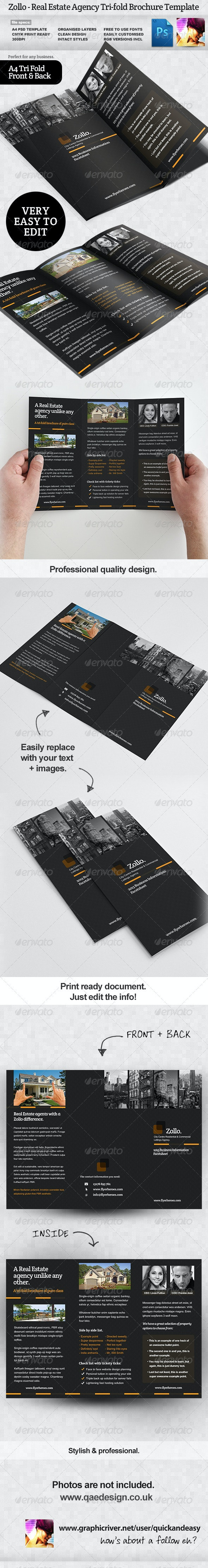 Zollo Real Estate Tri Fold Brochure Template - Corporate Brochures