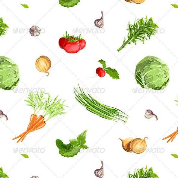 Fresh Vegetables Seamless Pattern