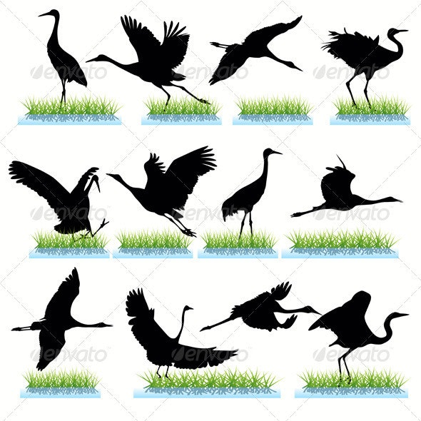 Cranes Silhouettes Set - Animals Characters