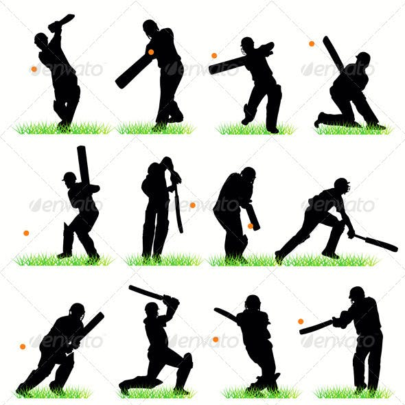 Cricket Players Silhouettes Set