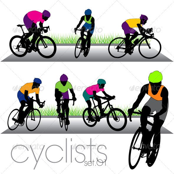 Cyclists and Bikers Silhouettes Set