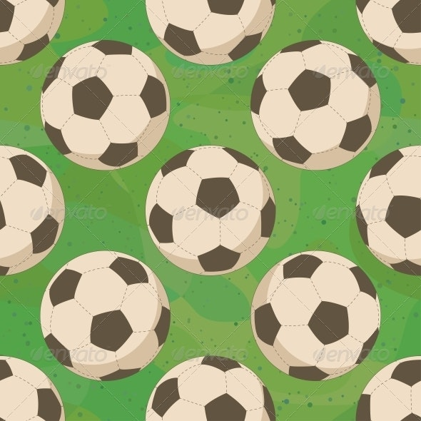 Soccer Balls on Grass, Seamless - Sports/Activity Conceptual