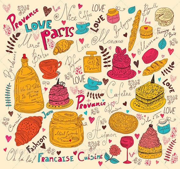 Symbols of Food France - Backgrounds Decorative