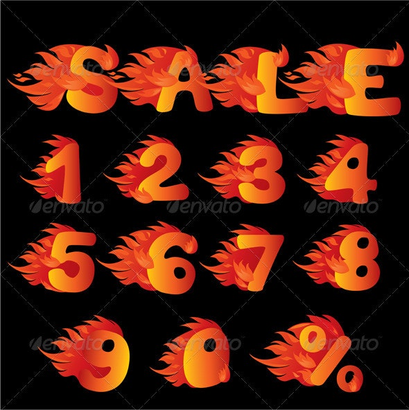 Flaming Numbers, Percent Symbol and Word Sale - Retail Commercial / Shopping