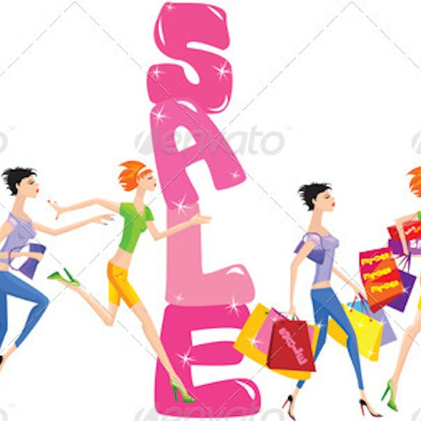 Sale Cartoon with Group of Girls in Shopping