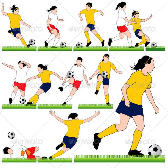 12 Female Soccer Silhouettes Set