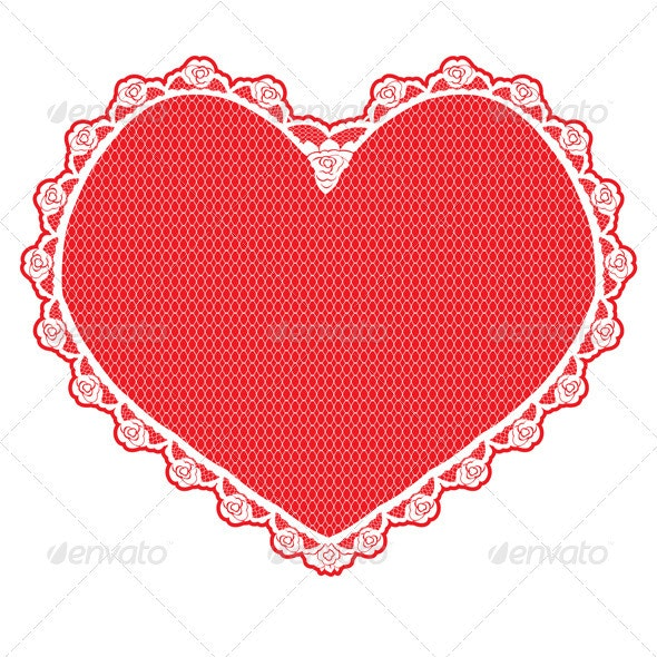 Heart Shape Lace Doily White on Red Background - Valentines Seasons/Holidays