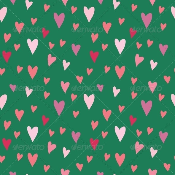 Seamless Vector Pattern with Hearts - Valentines Seasons/Holidays