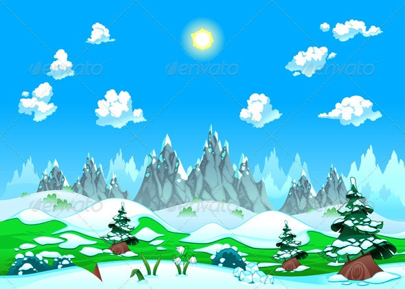 Landscape with Snow and Mountains.  - Landscapes Nature