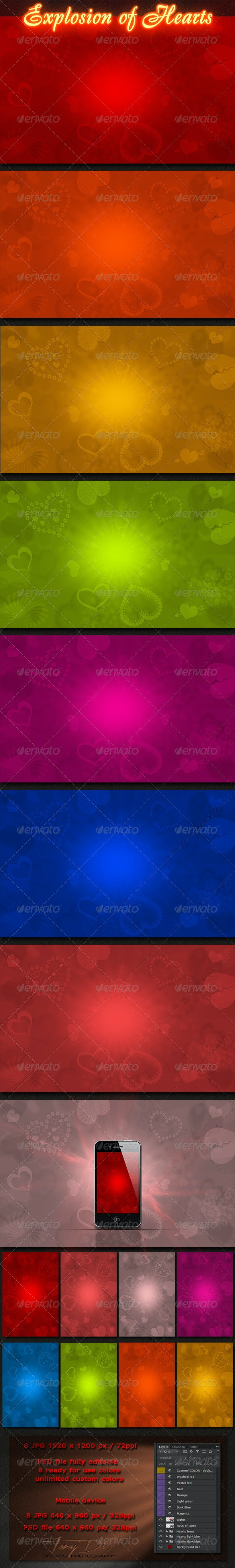 Explosion of Hearts - Miscellaneous Backgrounds