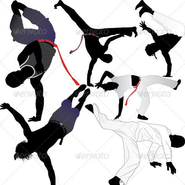 Capoeira Fighter Vector Silhouettes