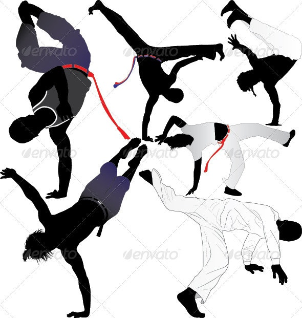 Capoeira Fighter Vector Silhouettes - People Characters