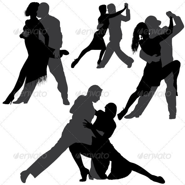 Tango and Salsa Vector Silhouettes - People Characters