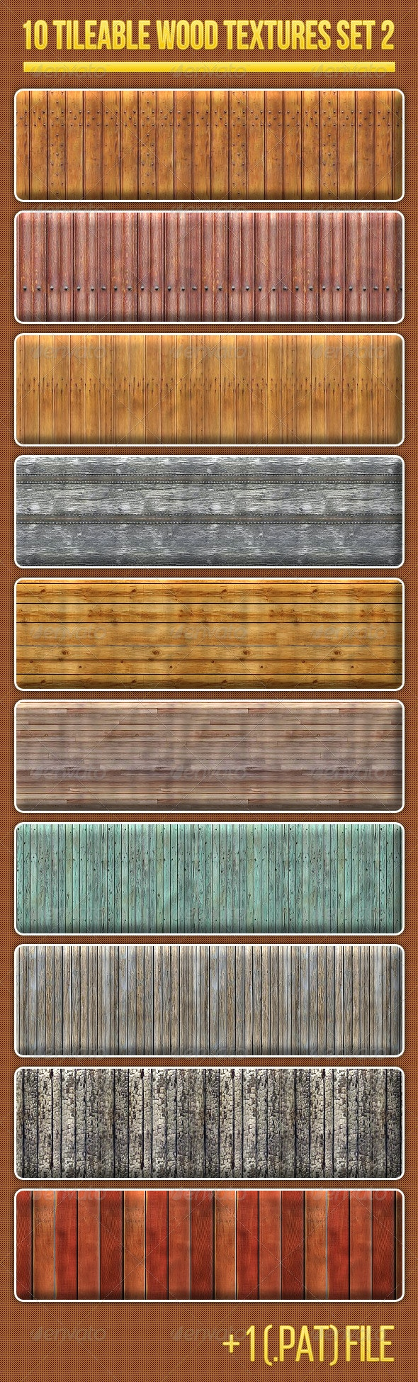 10 Tileable Wood Textures Set 2 - Wood Textures