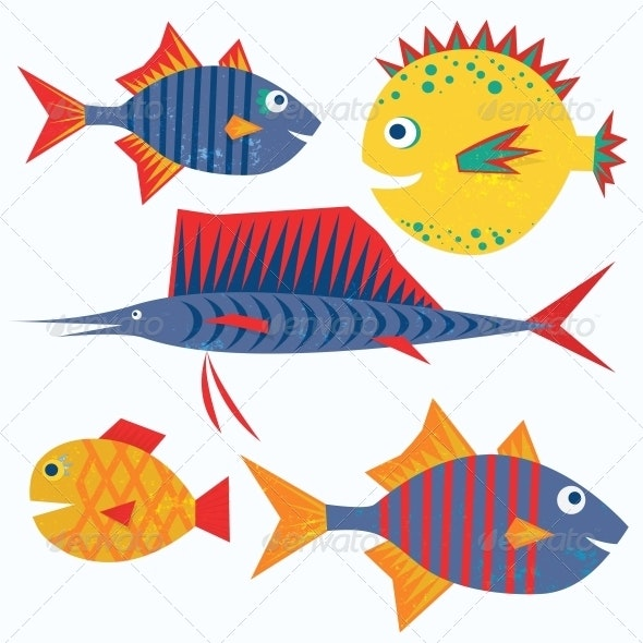 Family of Funny Fish. Vector Isolated Characters.  - Animals Characters