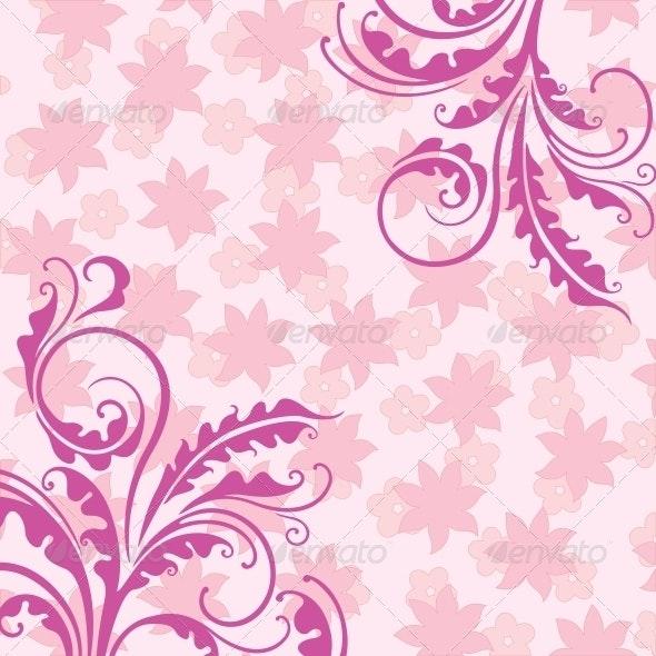 Decorative Pink Floral Background - Backgrounds Decorative