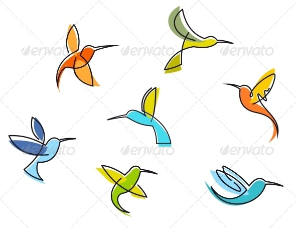 Abstract Colorful Hummingbirds - Animals Characters