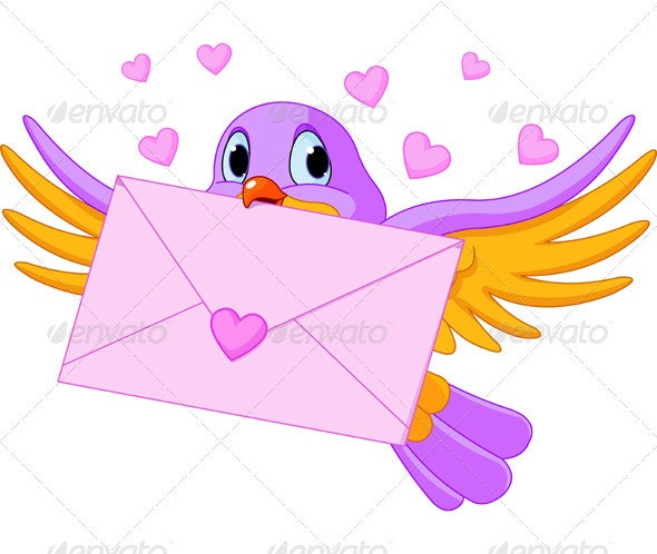 Bird with Love Letter - Valentines Seasons/Holidays