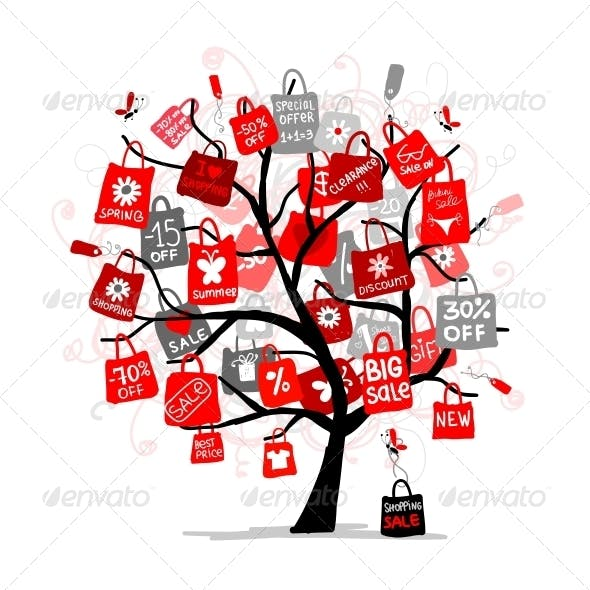 Shopping Bags on Tree Design, Big Sale Concept
