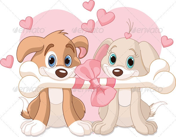 Two Valentine dogs - Valentines Seasons/Holidays