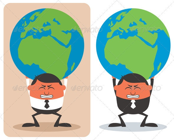 Businessman Holding Earth - Concepts Business