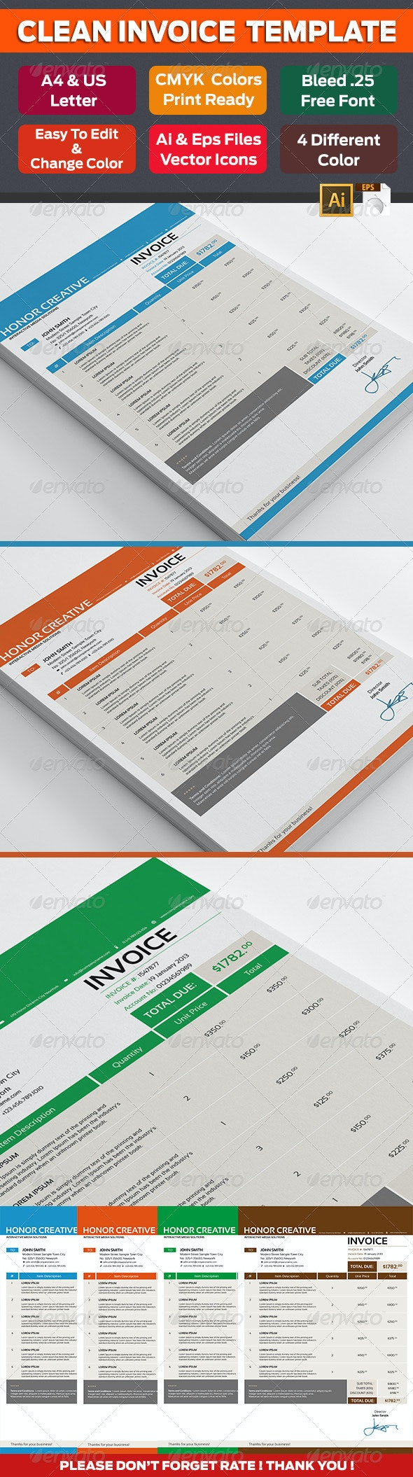 Professional Invoice 01 - Proposals & Invoices Stationery