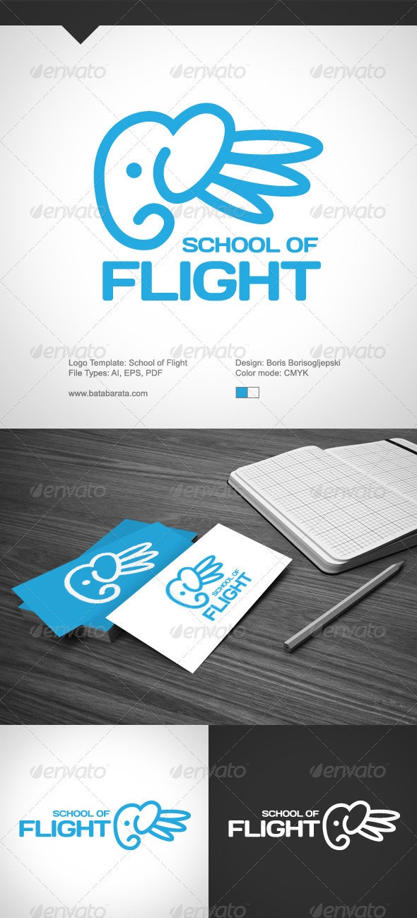 School Of Flight Logo - Animals Logo Templates