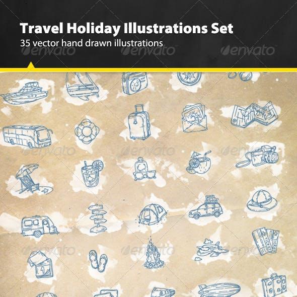 35 Hand Drawn Holiday Travel Illustrations