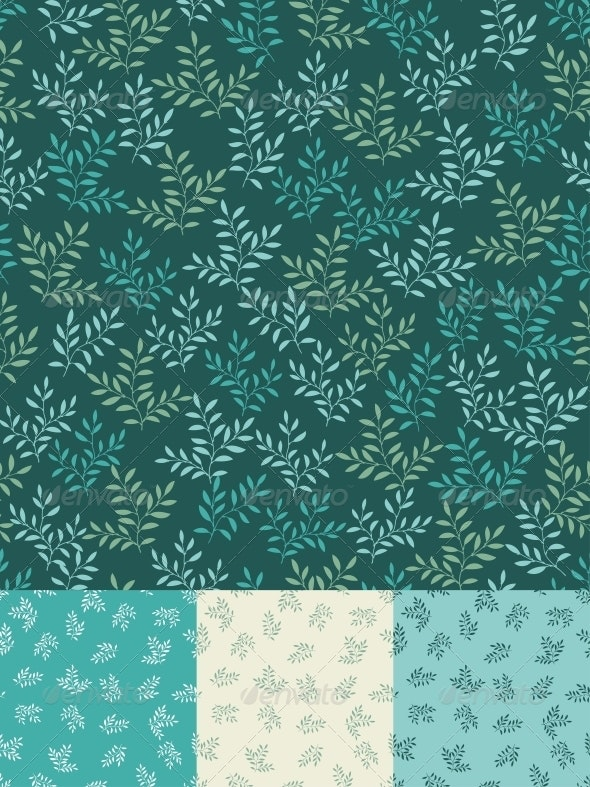 Seamless patterns with leaves. - Flowers & Plants Nature