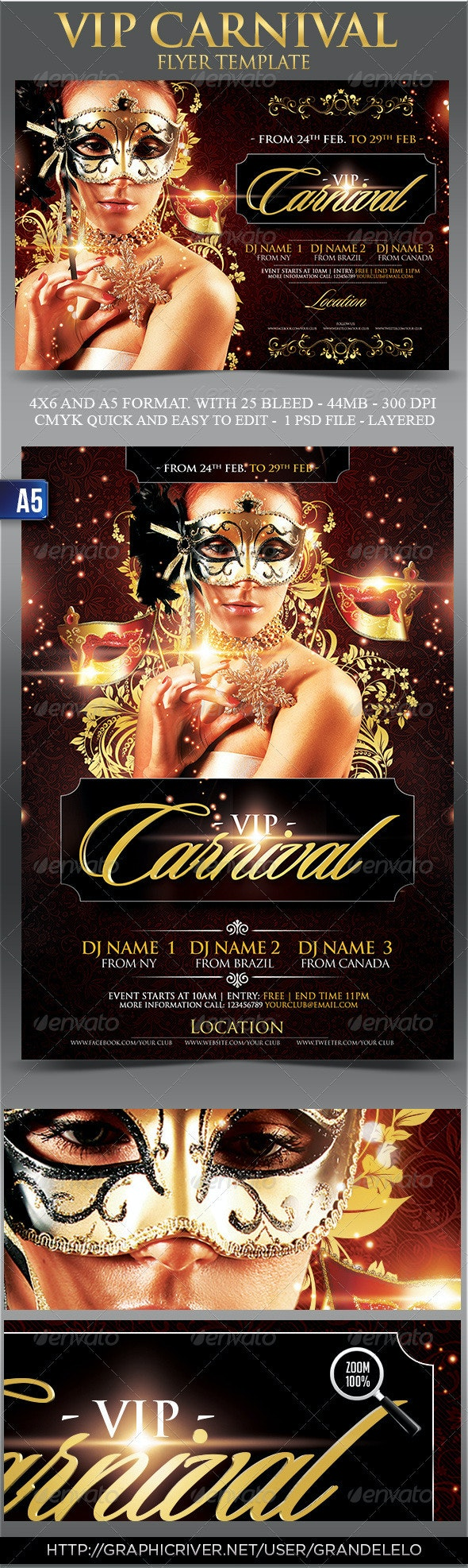 Vip Carnival Flyer Template - Clubs & Parties Events