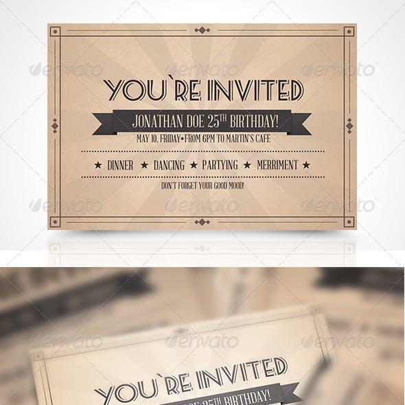 Vinatge Invitation Postcard