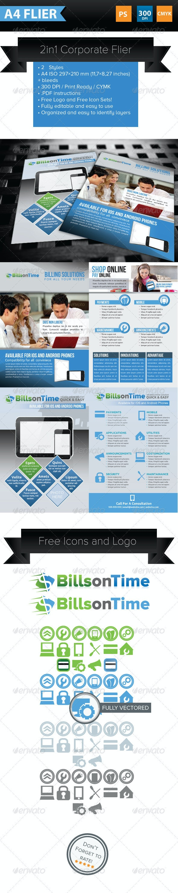 2 in 1 Corporate Flyer Template - Corporate Flyers