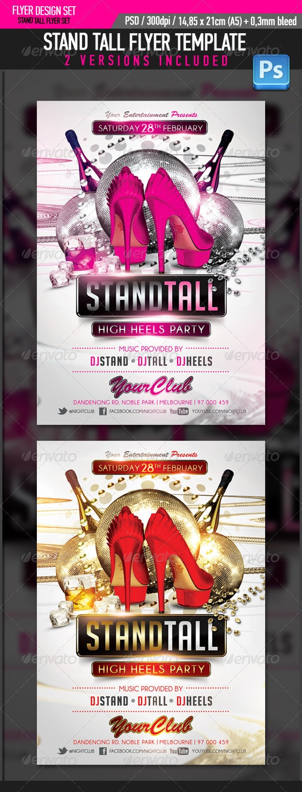 Stand Tall High Heels Party Flyer Template - Clubs & Parties Events