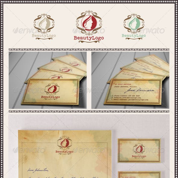 Retro Beauty Logo and Stationery