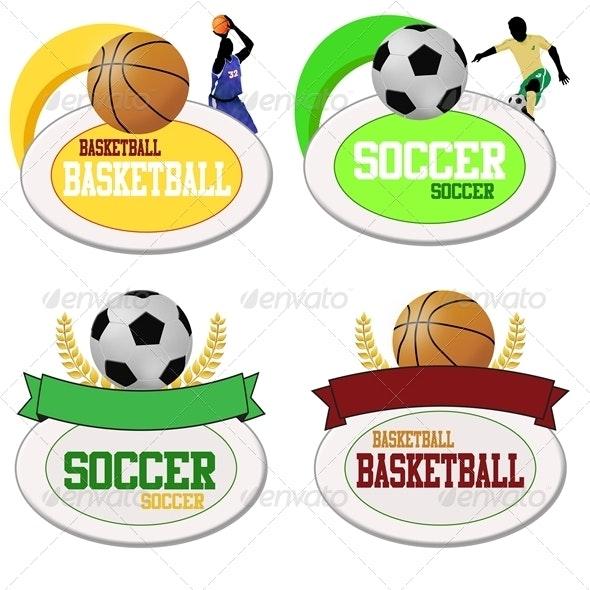 Basketball and Footballs Icons - Sports/Activity Conceptual
