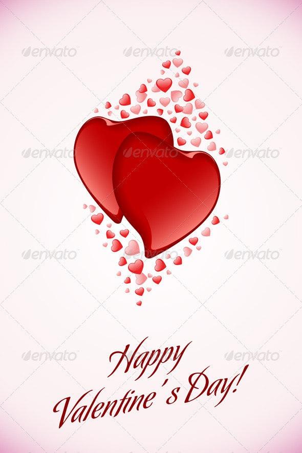Red Valentine Hearts on Pink Background - Valentines Seasons/Holidays