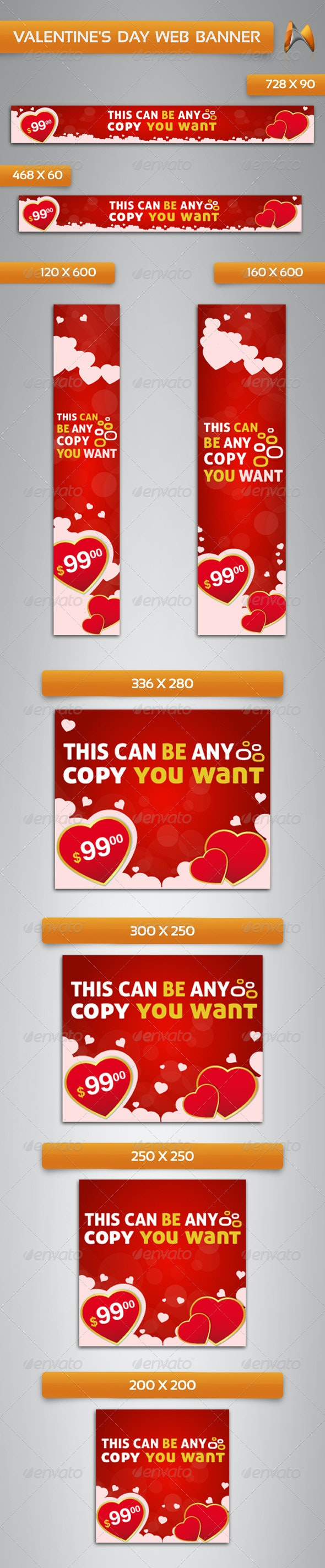 Valentine's Day Web Banner - Banners & Ads Web Elements
