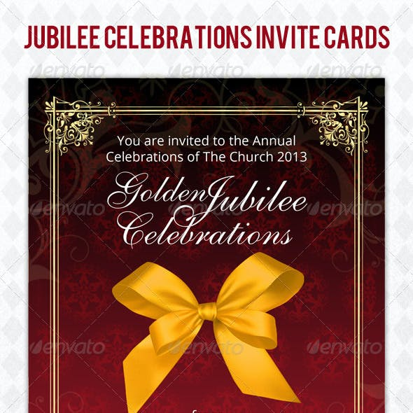 Golden Jubilee Invitation Card Psd Template