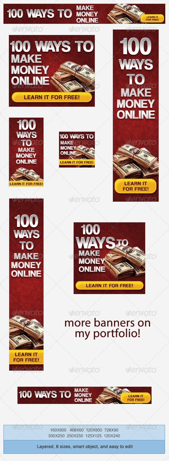 Make Money Online Banner Ad Template - Banners & Ads Web Elements