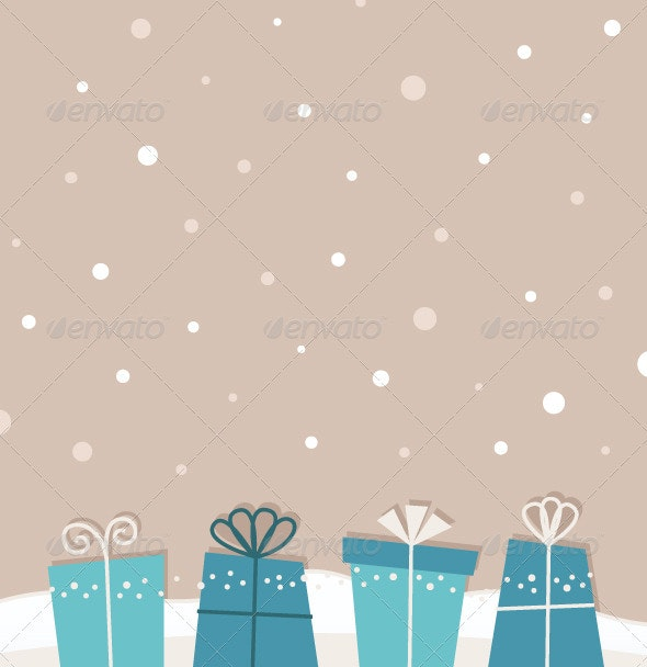 Retro Christmas Snowing Background with Gifts - Backgrounds Decorative
