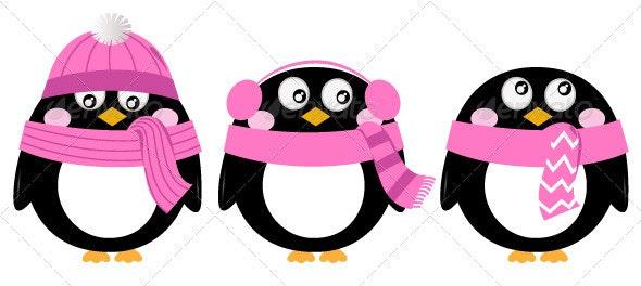 Cute Pink Cartoon Penguin Set Isolated on White - Christmas Seasons/Holidays