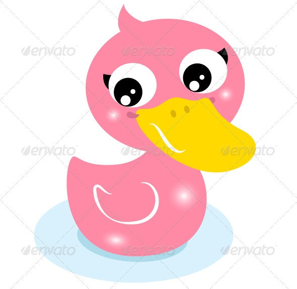 Cute Little Pink Rubber Duck Isolated on White - Man-made Objects Objects