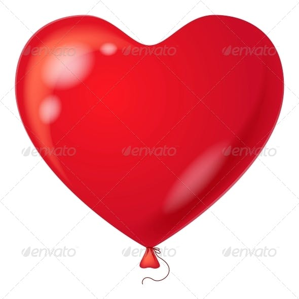Red Balloon, Heart Shaped