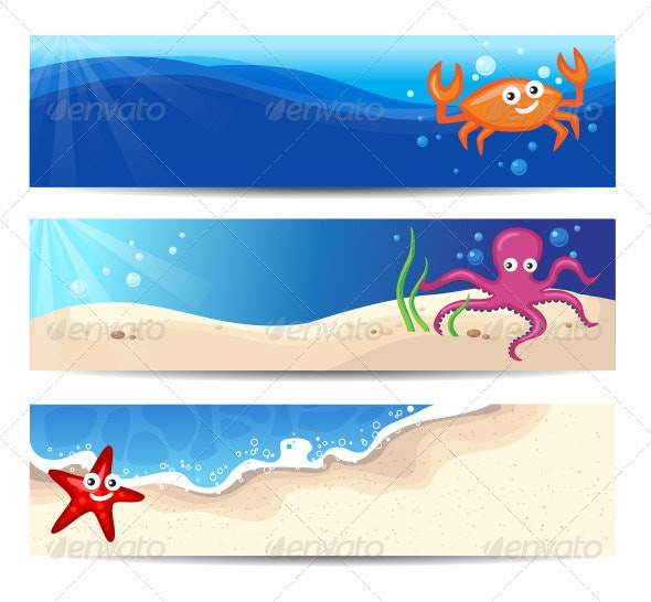Summer Banners With Cute Sea Characters - Characters Vectors
