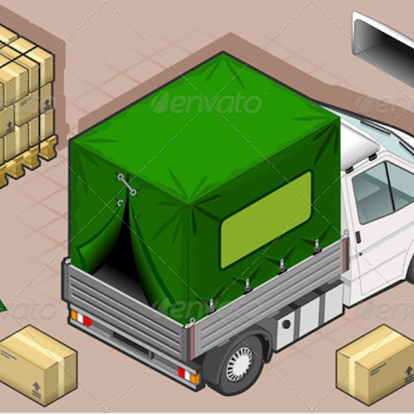 Isometric White Van with Tarpaulin