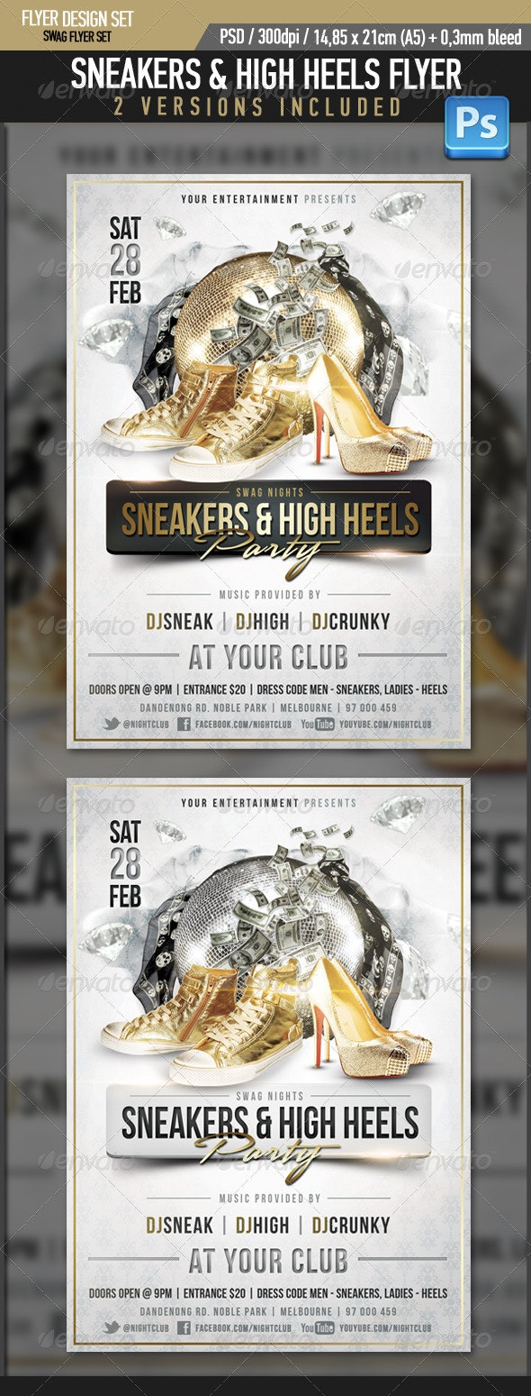 Sneaker High Heels Swag Flyer Template - Clubs & Parties Events
